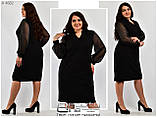 Платье женское креп-дайвинг +сетка большого размера 54-66, фото 2