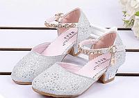 Весна-осінь-літо, сандалі зі стразами для дівчаток, дитяче взуття на високих підборах з бантиками