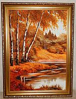 Картина и янтаря Пейзаж с берёзками