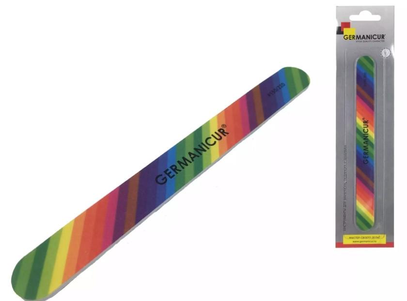 Germanicur Пилка-наждак GM-1550-D (150/220) прямая цветная для ногтей (радуга)