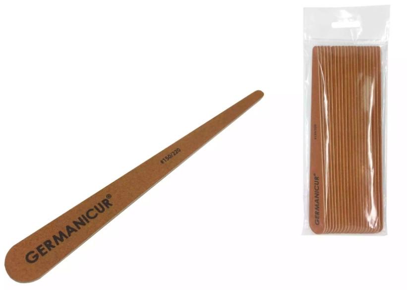 Germanicur Пилка-наждак GM-1830-WOOD (150/220) на деревянной основе конусна коричнева для ногтей