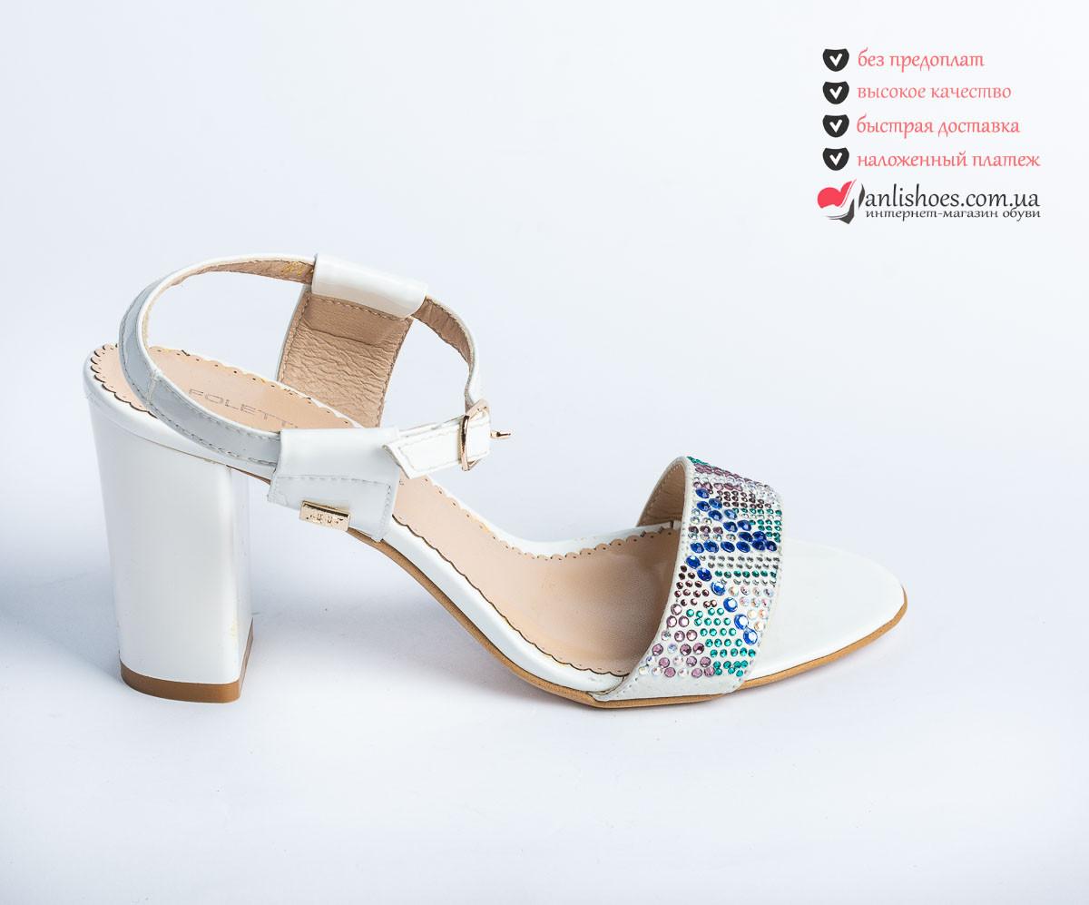 dbb5d882a 🍁Босоножки женские белая кожа на каблуке. Кожа натуральная со стразами  высокого качества. -