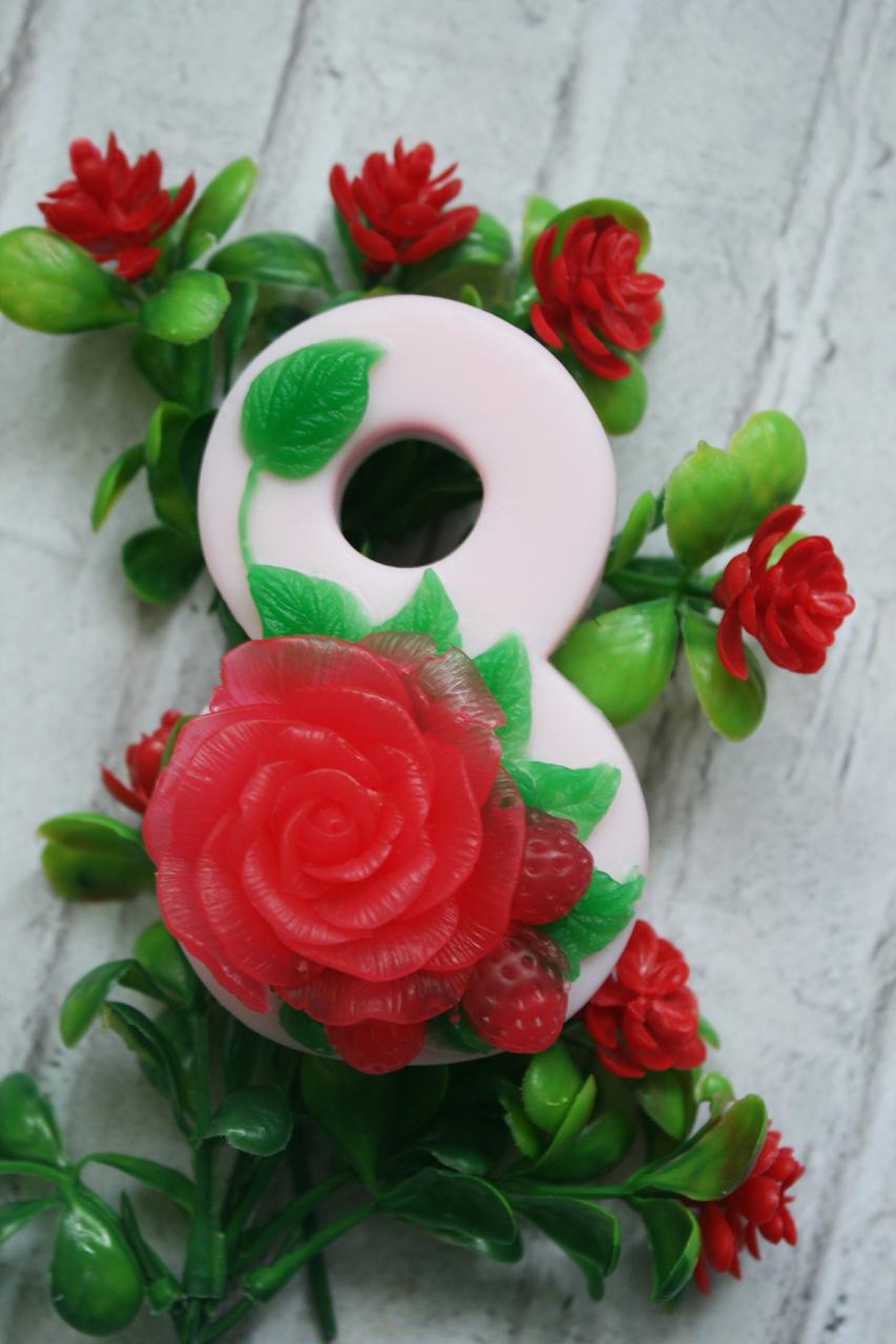 Мыло ручной работы 8 марта красная роза
