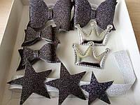 Набор детских аксессуаров для волос принцесса,серебро (повязка+заколки+резинки)