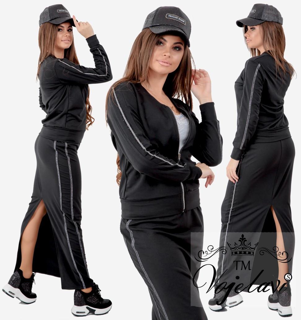 82c6bb78 Женский спортивный костюм двойка (юбка + кофта) со стразами: продажа ...