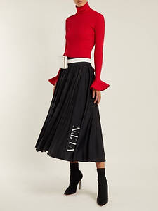 Юбка VLTN Плиссированная юбка с регулируемым зажимом «бочонком» на талии, с двух сторон гладкие вставки
