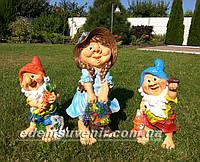 Садовая фигура Гном с зайцем средний, Гном с белкой средний и Скромница