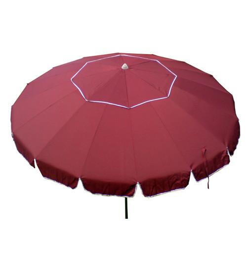 Зонт пляжный, диаметр 3,3 метра, с ветровым клапаном и серебряным напылением, 16 спиц из пластика