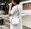 Сумка женская через плечо с вышивкой и цветами Белый, фото 5