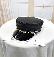 Женский картуз, кепи, фуражка из кожзама с цепью и лаковым козырьком черный, фото 1