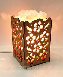 Соляные светильники в дереве Прямоугольный камин