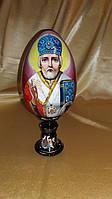 Яйцо пасхальное деревянное на подставке Святой Николай