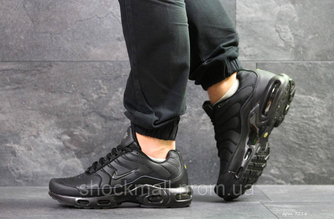 b963d6b4 Кроссовки мужские Nike Air Max TN черные кожа Вьетнам реплика - Интернет  магазин ShockMall в Киеве