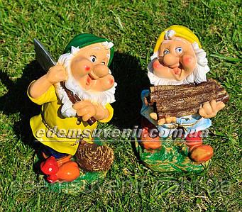 Садовая фигура Гном дровосек и Гном с топором малые