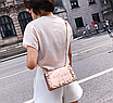 Сумка женская через плечо с вышивкой и цветами Розовый, фото 4
