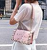Сумка женская через плечо с вышивкой и цветами Розовый, фото 5