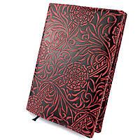Кожаная обложка для ежедневника / блокнота ф. А5 Амелия (бордовый цветок)