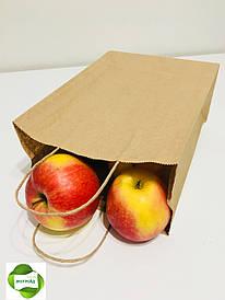 Бумажный пакет с кручеными ручками 210*115*290 бурый