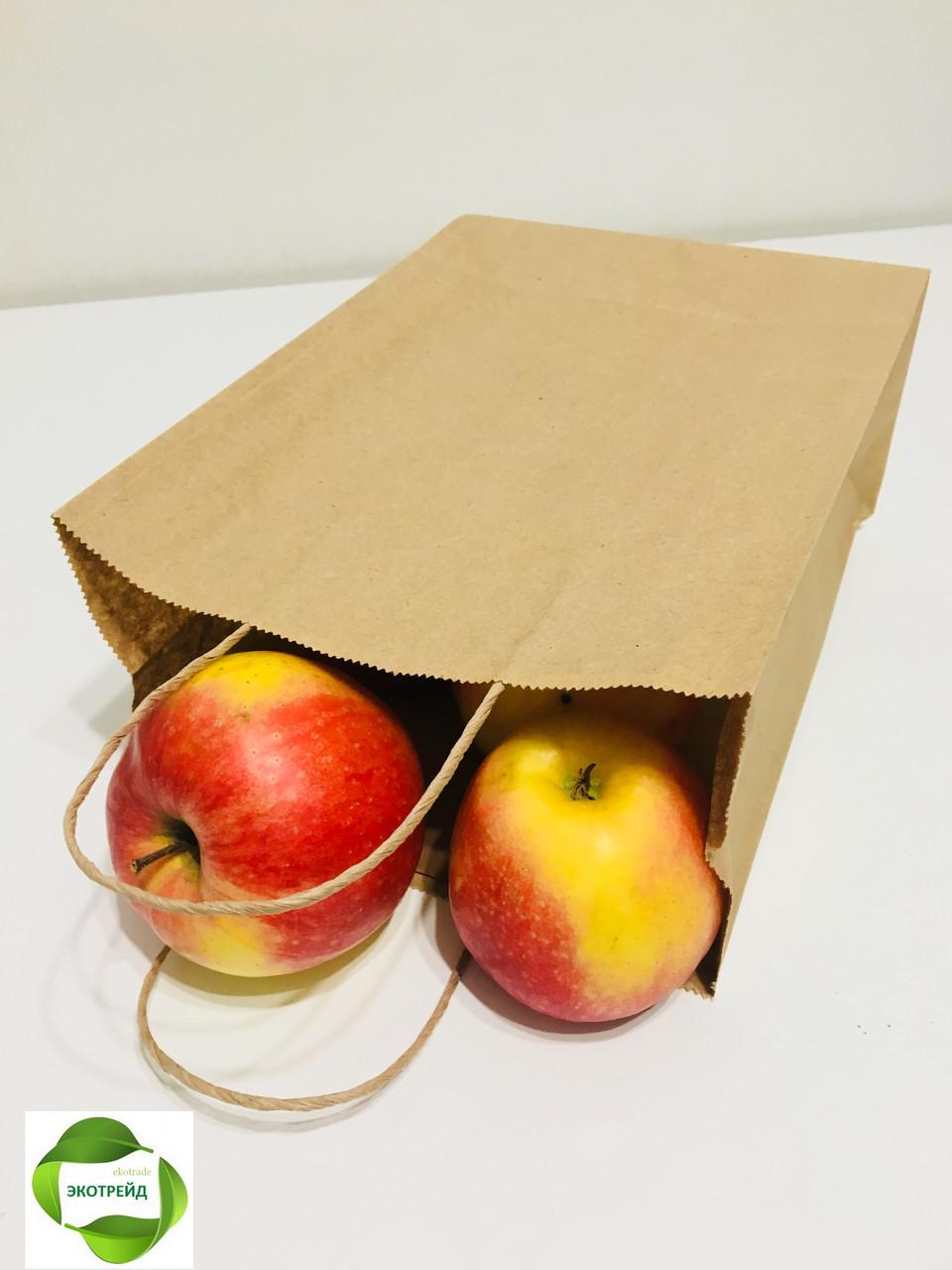 Бумажный пакет с кручеными ручками 210*115*290 бурый, фото 1
