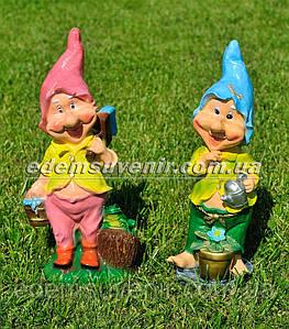 Садовая фигура Гном маляр и Гном с лейкой средние