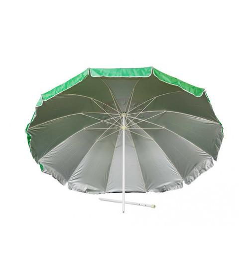 Зонт пляжный, торговый, диаметр 3 метра, с ветровым клапаном и серебряным напылением, 16 спиц из пластика