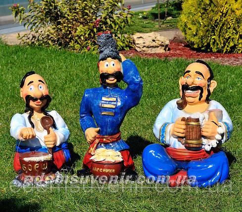 Садовая фигура Козак с варениками, Козак с борщом и Хозяин, фото 2