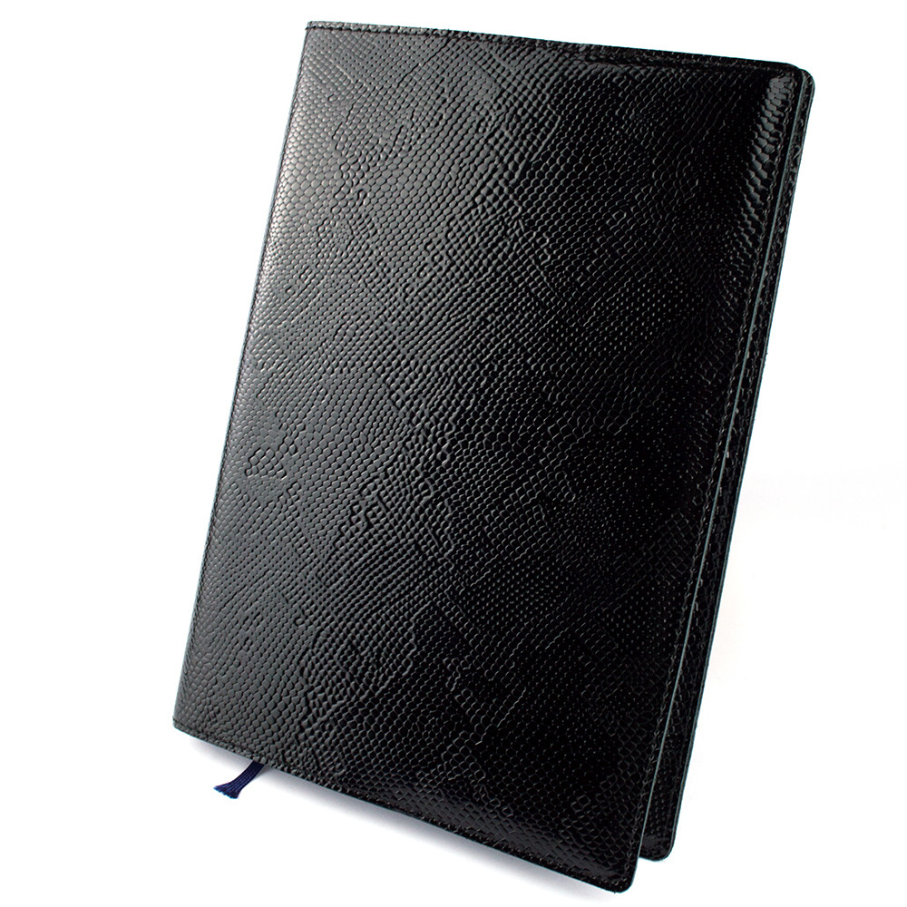 Кожаная обложка для ежедневника / блокнота ф. А5 Lika (черный питон)