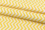 "Сатин ткань ""Густой средний жёлтый зигзаг"" на белом, №1910с, фото 3"