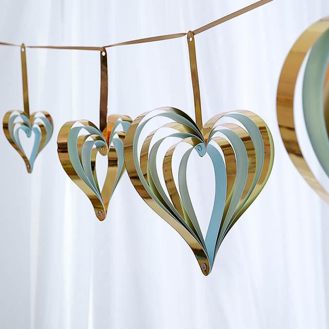 Набор 3D сердечек (4 штуки), золото+ голубой