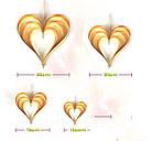 Набор 3D сердечек (4 штуки), золото+ голубой, фото 3