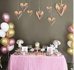 Набор 3D сердечек (4 штуки), золото+ розовый