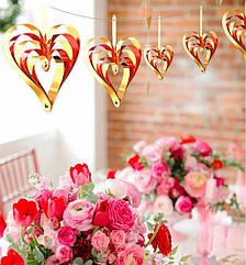 Набор 3 D сердец (4 штуки), красный + золото