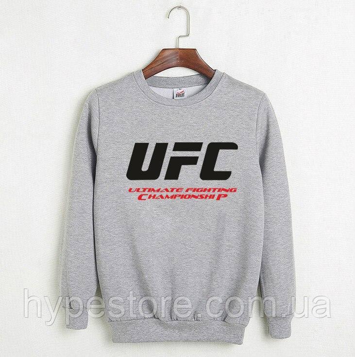 Мужской спортивный серый свитшот, кофта, лонгслив, реглан UFC, Реплика