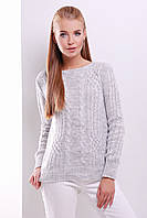 Женский свитер вязаный с узором коса