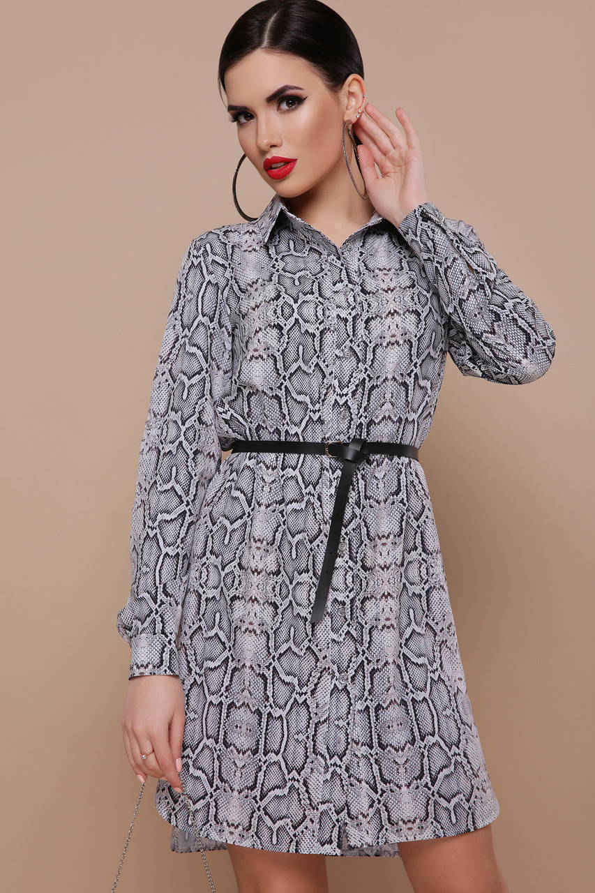 Сукня-сорочка з софту з принтом пітона