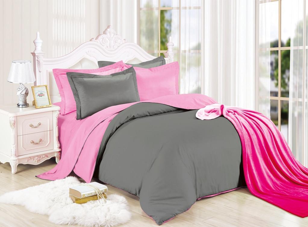 Постельный комплект  двухцветный  Серый с Розовым из Ранфорса