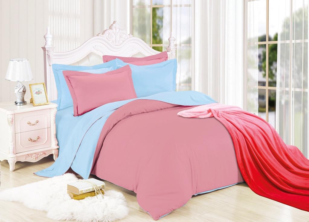 Постельный комплект  двухцветный Голубой с Розовым из Ранфорса