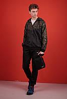 Комплект Ветровка Windrunner Jacket Nike + спортивные штаны, цвет черный + камуфляж. Барсетка в подарок