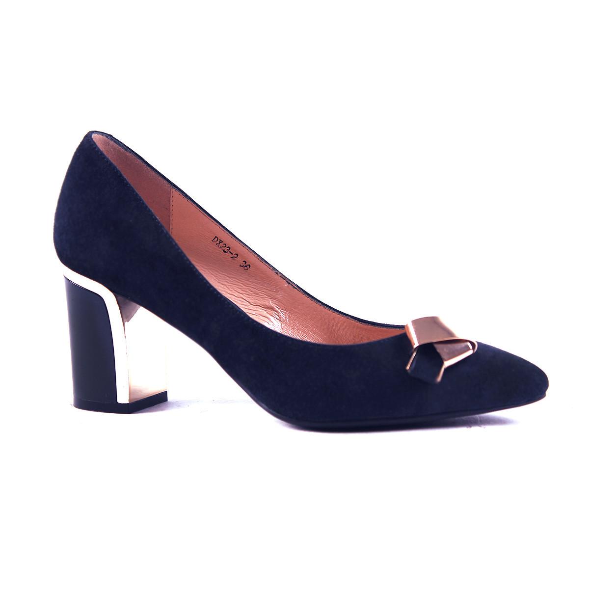 Женские туфли замшевые синие на удобном каблуке