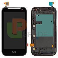Дисплей для HTC 310 Desire Dual Sim + тачскрин, черный, с передней панелью синего цвета, 127 x 63mm