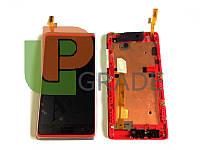 Дисплей для HTC 600 Desire Dual Sim/606w + тачскрин, черный, с передней панелью серебристого цвета