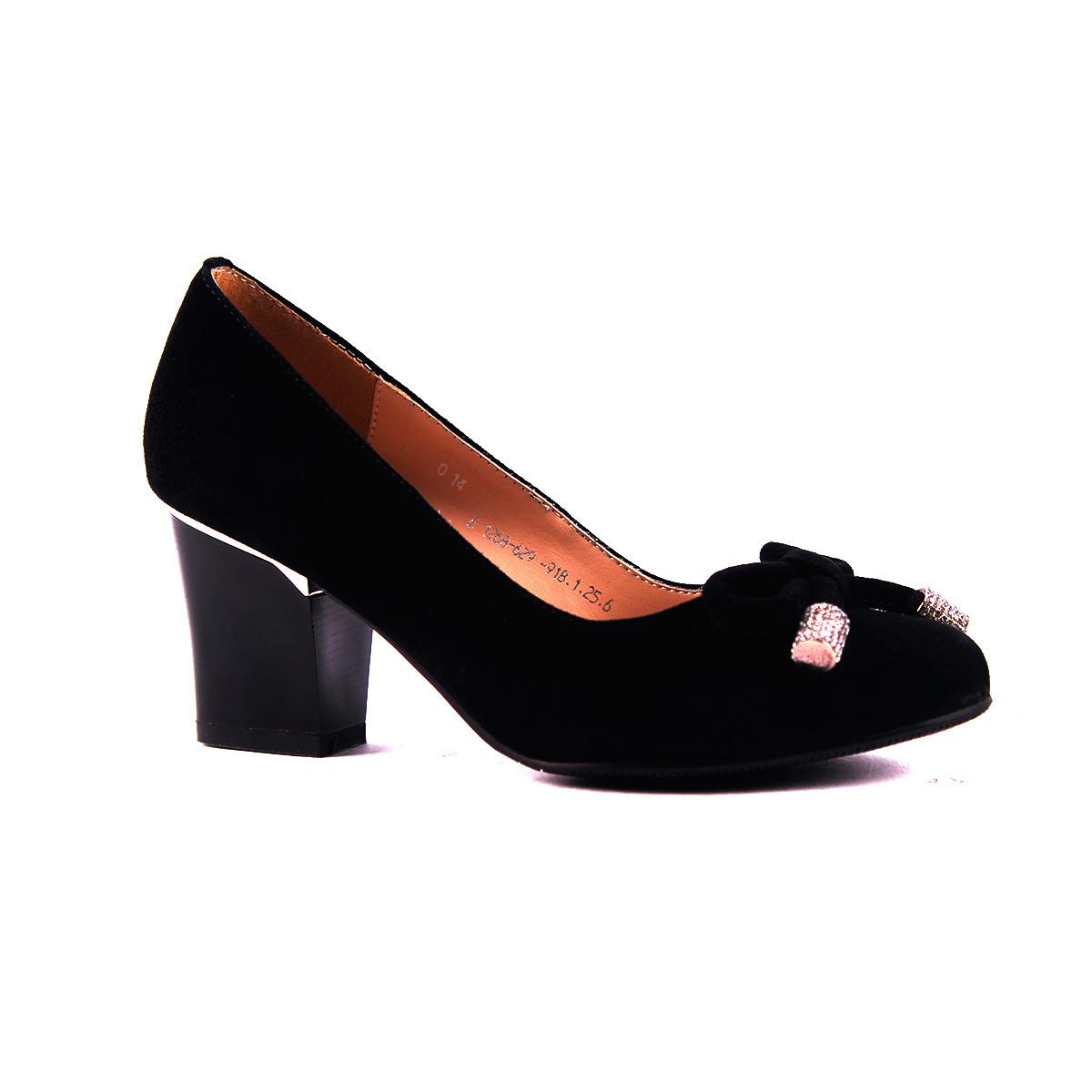 Туфли замш на устойчивом каблуке