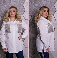 Рубашка свободного стиля с отделкой пайетка, с48-82 размер, фото 1