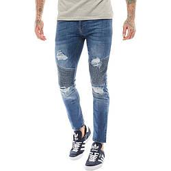 Мужские зауженные джинсы с потертостями Crosshatch синие оригинал