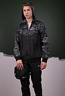 Комплект Ветровка Windrunner Nike + спортивные штаны, цвет черный + светлый камуфляж. Барсетка в подарок
