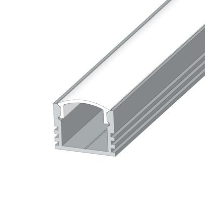 Накладний  глибокий алюмінієвий профіль разом з матовим розсіювачем 2м для LED стрічки