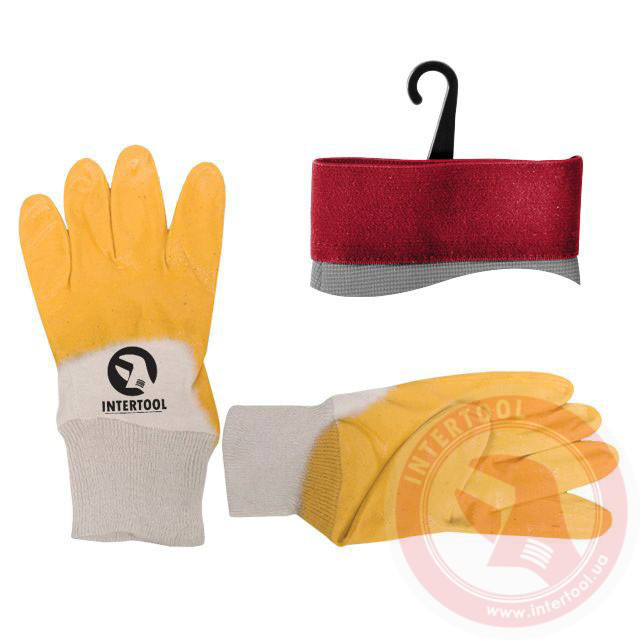 Перчатки рабочие нитрил жёлтый №9 (Intertool SP-0109)