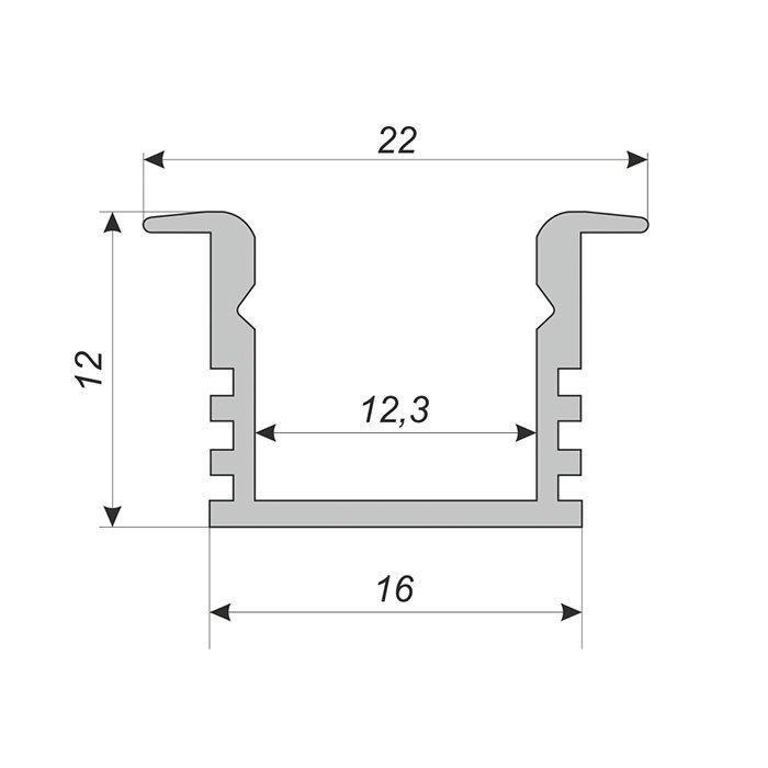 Врізний глибокий алюмінієвий профіль з матовим розсіювачем 2м для LED стрічки, фото 2