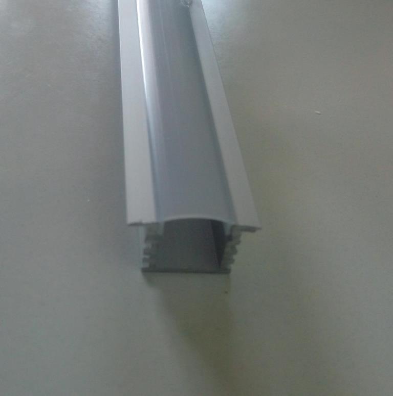 Врізний глибокий алюмінієвий профіль з матовим розсіювачем 2м для LED стрічки