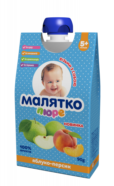 Пюре Малятко Яблоко-персик, 90 г